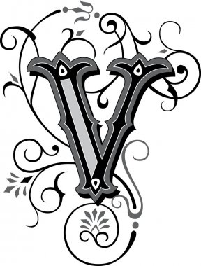 Beautifully decorated English alphabets, letter V