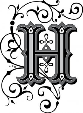 Beautifully decorated English alphabets, letter H