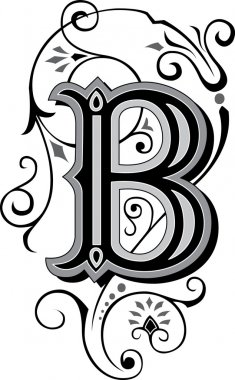 Beautifully decorated English alphabets, letter B