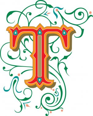 Beautifully decorated English alphabets, letter T