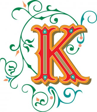 Beautifully decorated English alphabets, letter K