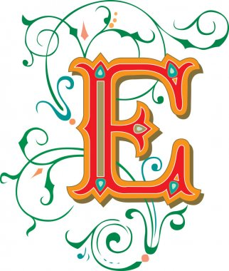 Beautifully decorated English alphabets, letter E