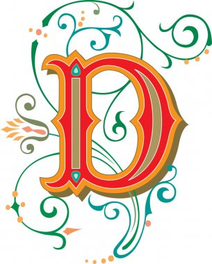 Beautifully decorated English alphabets, letter D