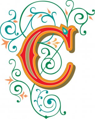 Beautifully decorated English alphabets, letter C