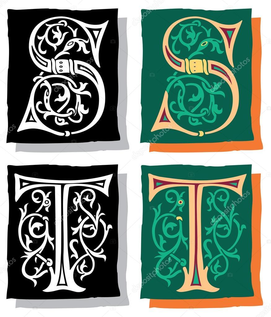 las letras del alfabeto inglés estilo medieval, s y t, mono y color ...