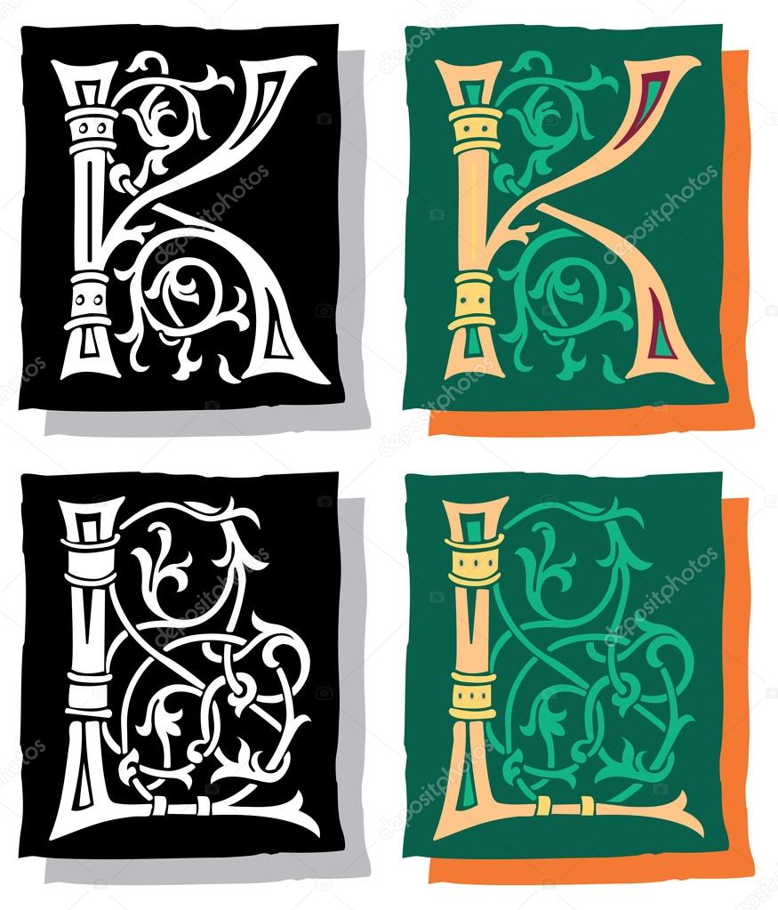Medieval style English alphabet letters, K and L, mono and