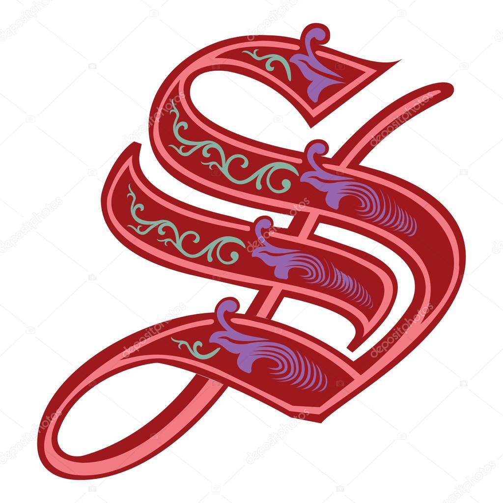 Beautiful Decoration English Alphabets Gothic Style Letter S Stock Vector