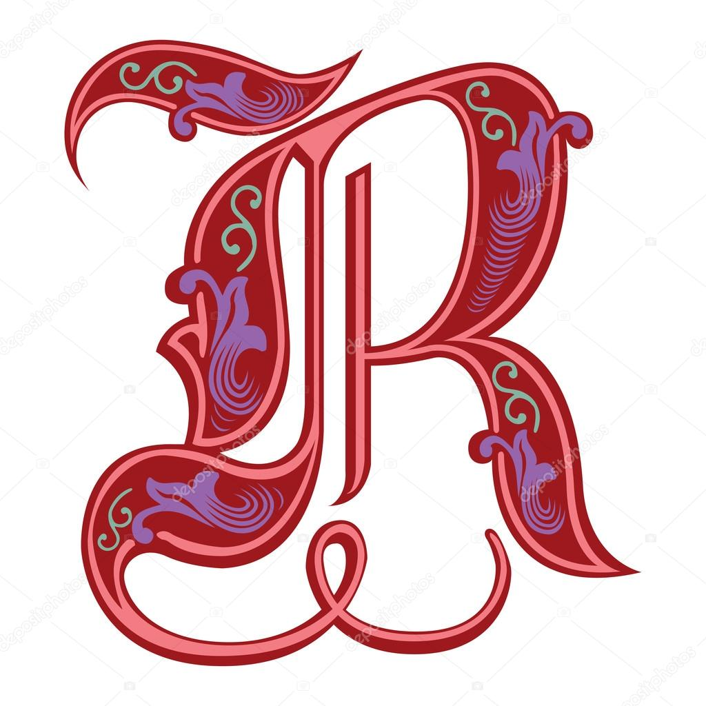 Beautiful Decoration English Alphabets Gothic Style Letter R Stock Vector