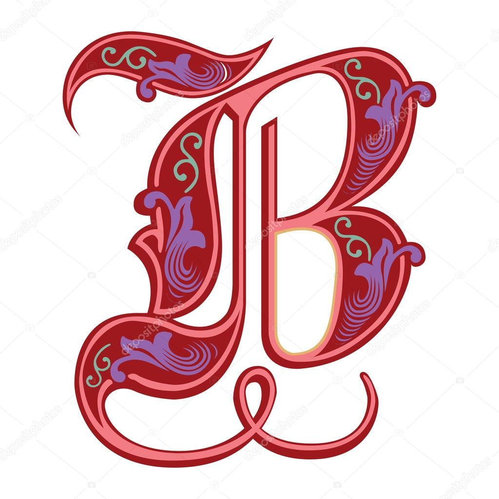 Beautiful Decoration English Alphabets Gothic Style Letter B Stock Vector