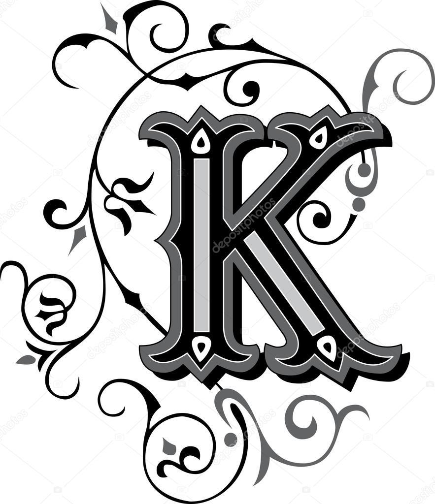 Pięknie Zdobione Alfabetu Angielskiego Litera K Grafika Wektorowa