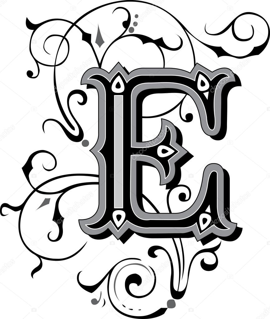beautiful ornate alphabets letter s grayscale beautifully decorated alphabets letter e stock 939
