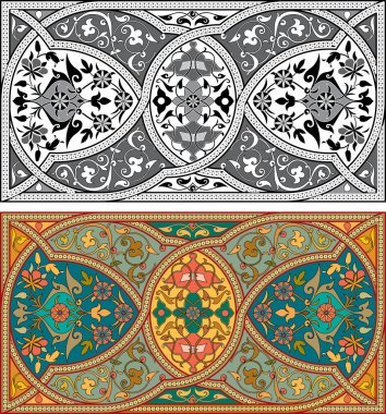 Set of Arabesque pattern with detailed ornament, monochrome and