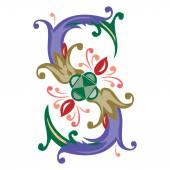 Barevné anglické abecedy - styl rostlin - písmeno S