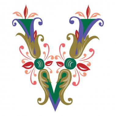 Colorful English alphabets - plant style - Letter V