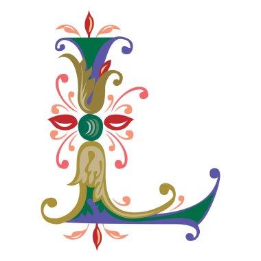 Colorful English alphabets - plant style - Letter L