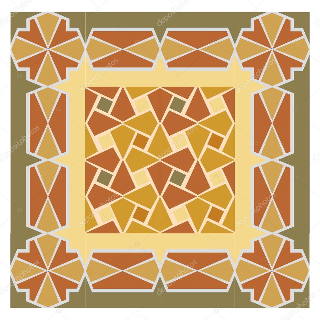 Bunte Mosaik-Muster, Fliesen Blöcke mit Rahmen — Stockvektor ...