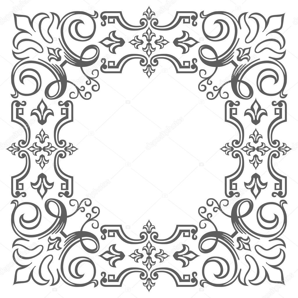 Marco adornado en blanco, borde de estilo antiguo — Archivo Imágenes ...