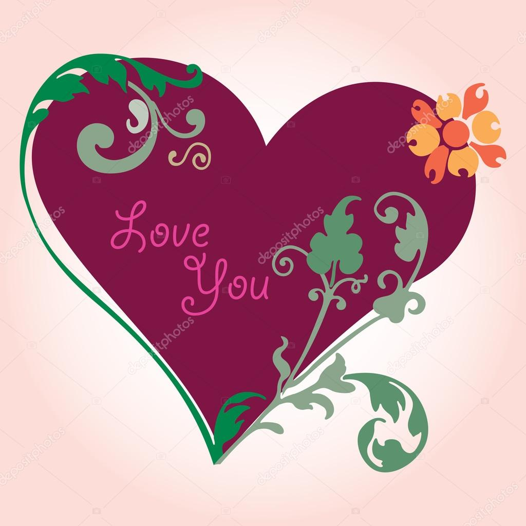 Coeur D Amour Romantique Fleurs De Dessin Et Les Feuilles Des