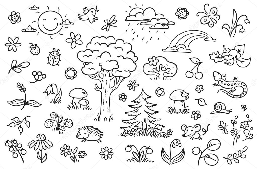 Cartoon nature set with trees, flowers, berries and small forest animals, black and white outline