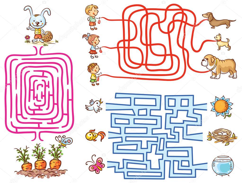 Set De Juegos De Laberinto Para Ninos En Edad Preescolar Buscar Los