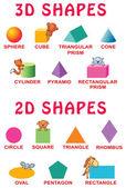Fotografia Forme 3d e 2d di base con gli animali del fumetto per bambini in età prescolare