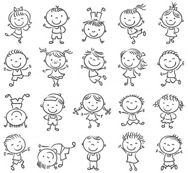 Twenty sketchy happy kids jumping with joy