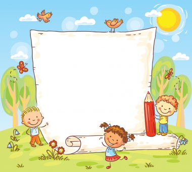 cartoon frame with three kids outdoors