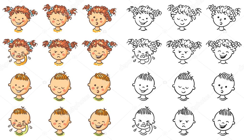 conjunto de ni u00f1o y ni u00f1a de caras con diferentes emociones girl face clipart cartoon happy girl face clipart