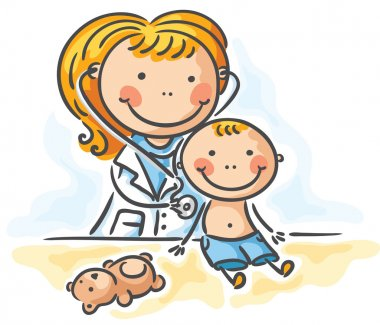 A little boy is being examed by the doctor clip art vector