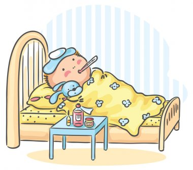 Child has got flu and is lying in bed with a thermometer