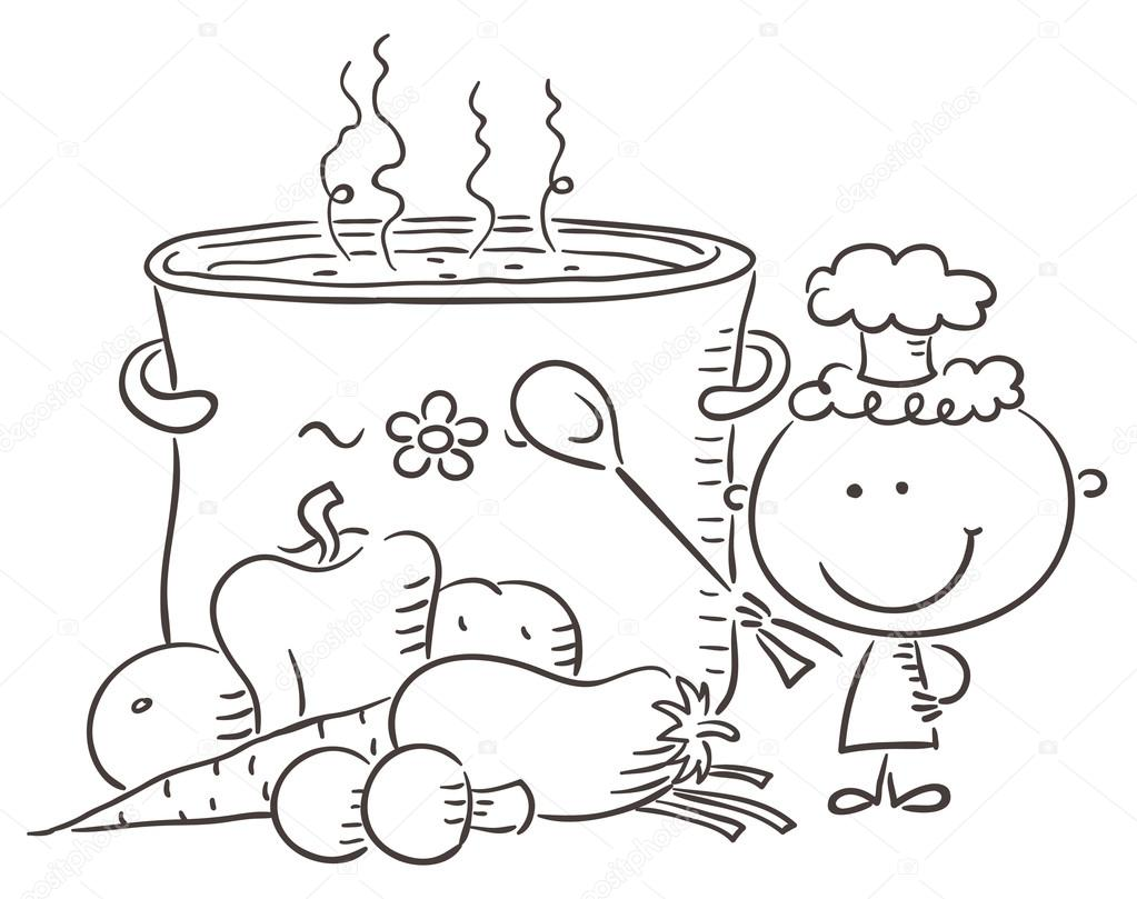 chef with a boiling pot stock vector