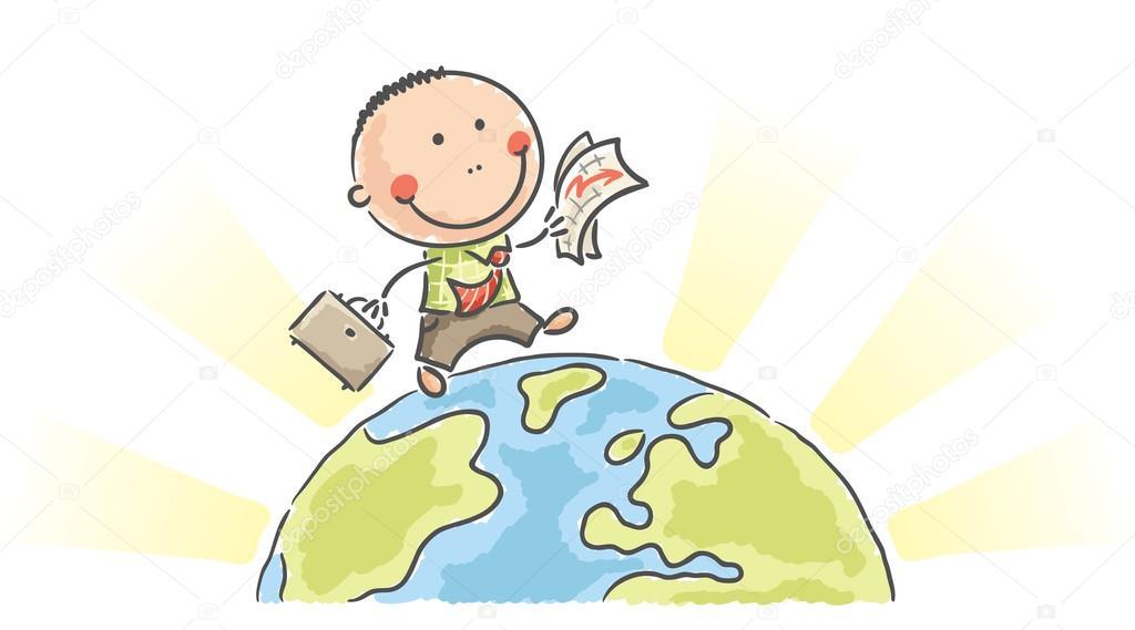Empresario De Dibujos Animados Caminar En La Tierra
