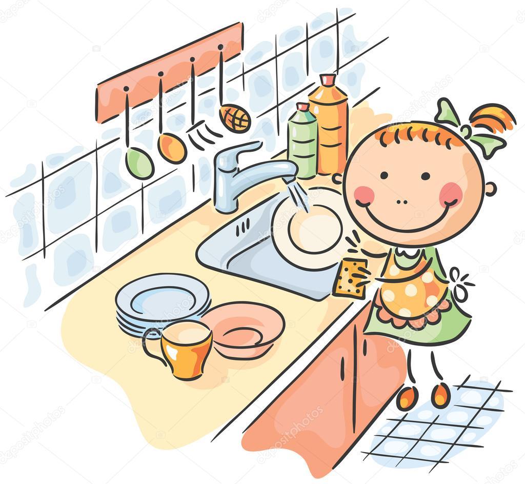 Resultado de imagem para criança ajudando a mãe a arrumar a cozinha desenho