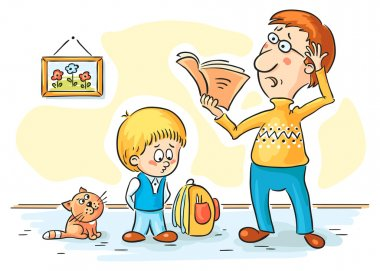 Father is checking homework