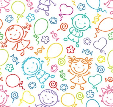 Seamless pattern with happy kids, balloons, sweets and flowers