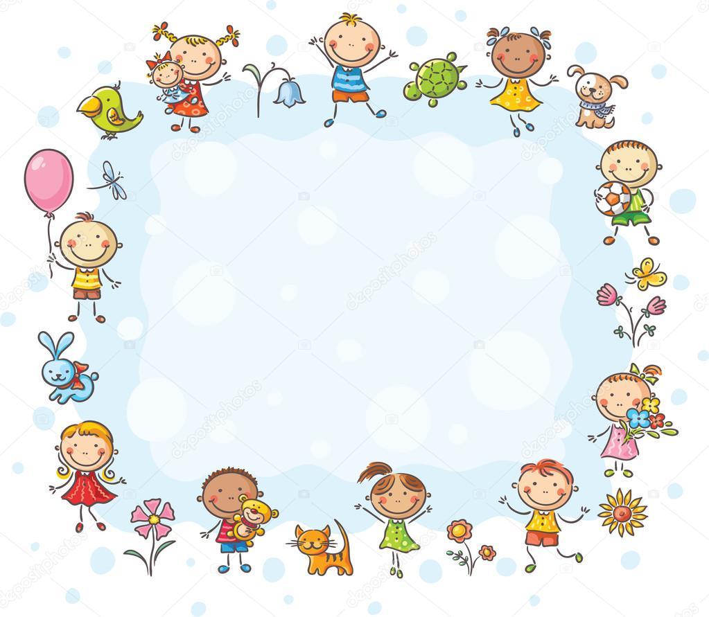 Cornice Rettangolare Con Bambini E Fiori Vettoriali Stock