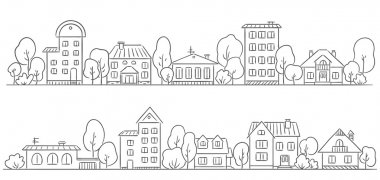 Trees and houses in a row for your frame or border stock vector