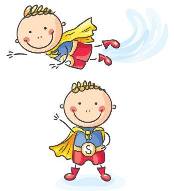 Superhero boy flying and standing