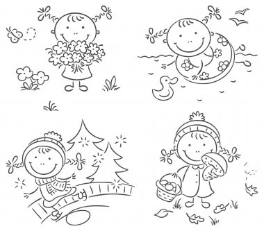 Little girl's activities during the four seasons clip art vector