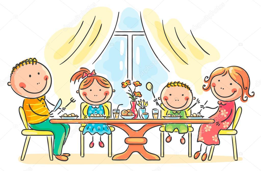 Familia tener comida juntos archivo im genes vectoriales - El comedor de familia ...