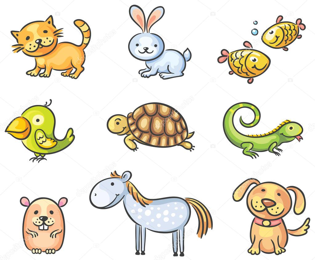 Cartoon pet animals