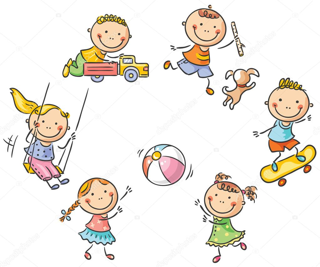 Happy cartoon kids playing outdoors stock vector