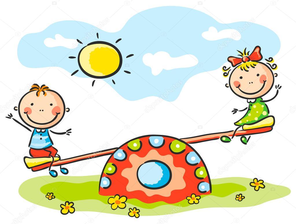 Bambini Al Parco Giochi Vettoriali Stock Katerinadav 54165111