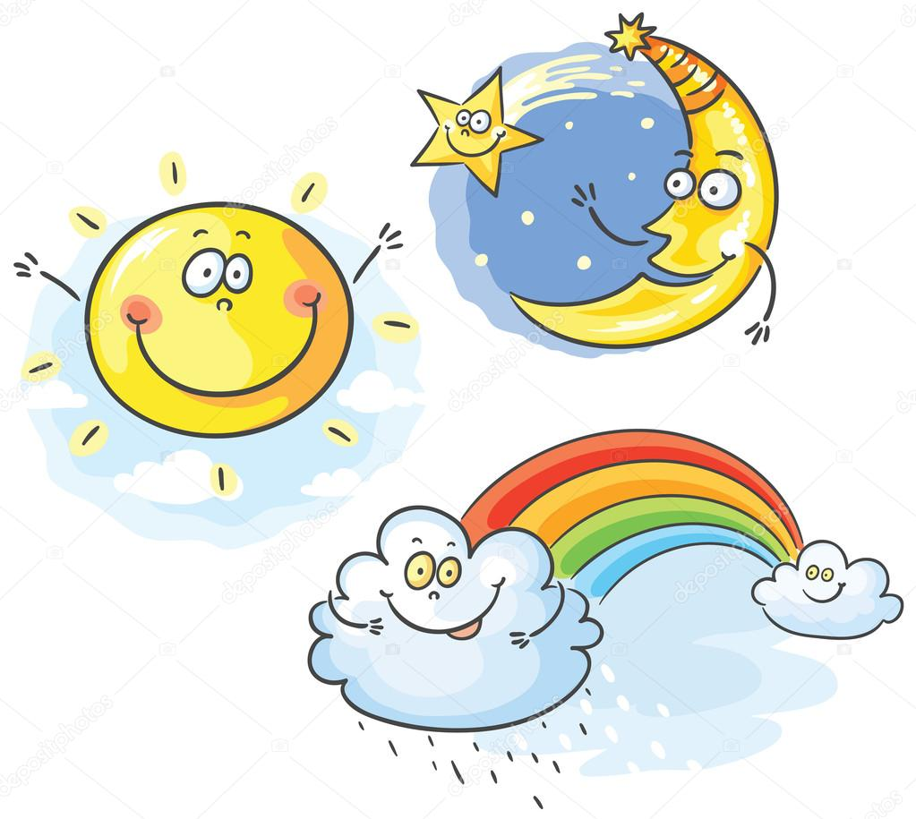 Set of cartoon moon, cloud and sun