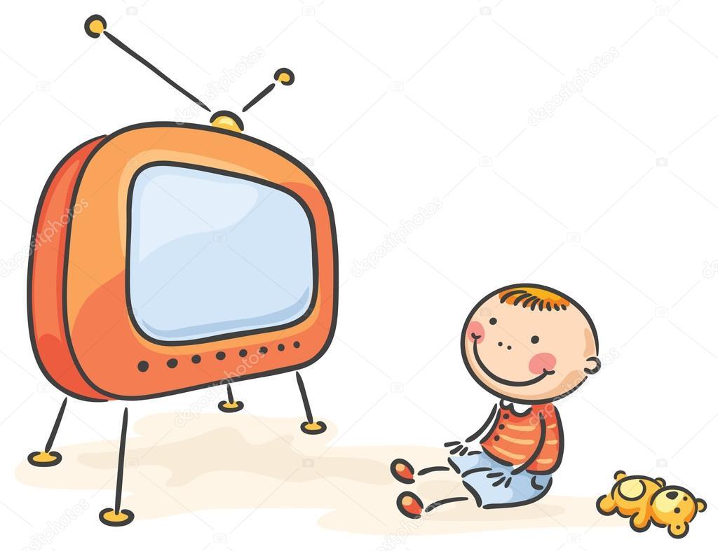 Ni o viendo la televisi n aislado archivo im genes - Television en casa ...