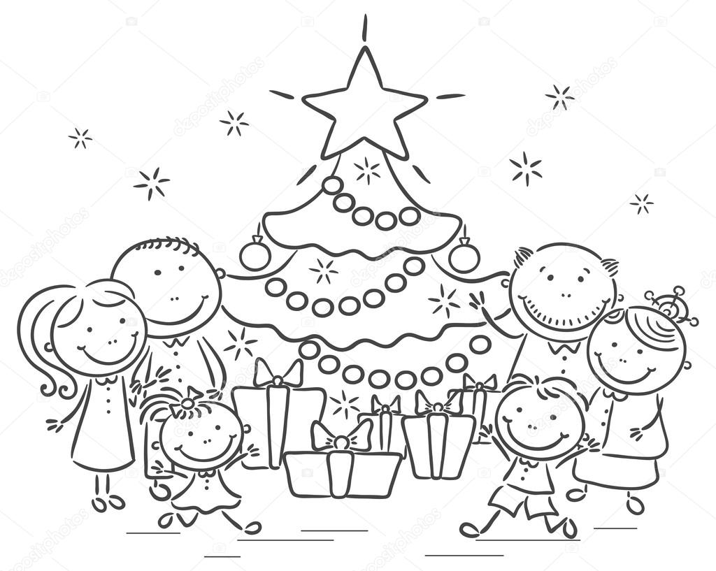 Family with a Christmas tree and presents — Stock Vector ...