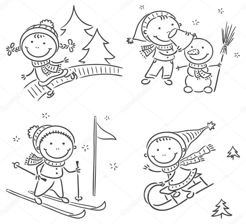 Kids winter outdoors activities stock vector katerina for Actividades para jardin