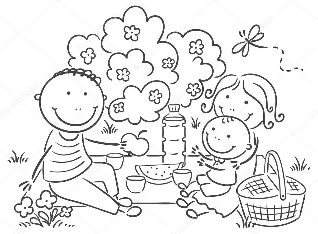 Açık Havada Olan Piknik Aile Stok Vektör Katerinadav 54167805