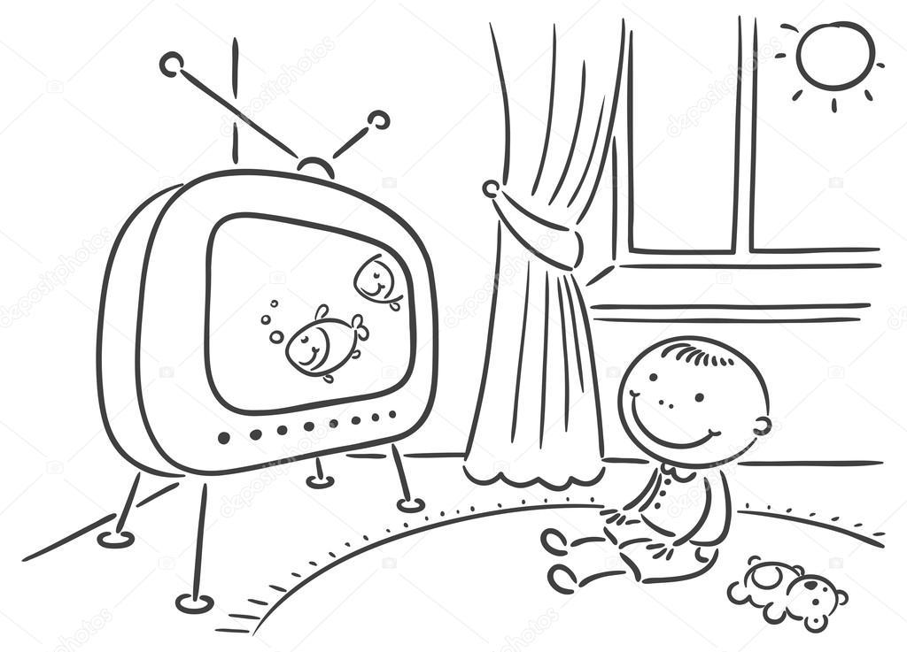 Imágenes Niños Viendo Television Para Colorear Niño Viendo La