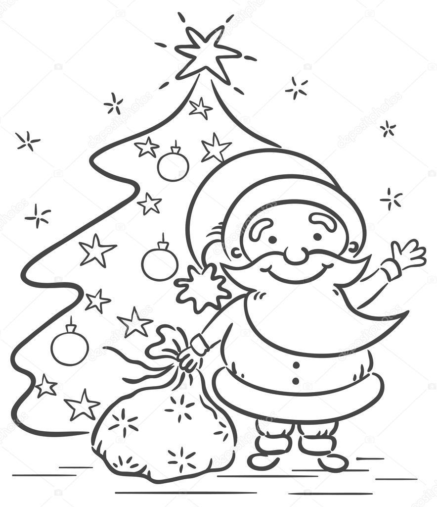 Cartoon Santa with presents and Christmas tree — Stock Vector ...